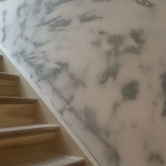 staircase painting work in progress by bp painters and decorators