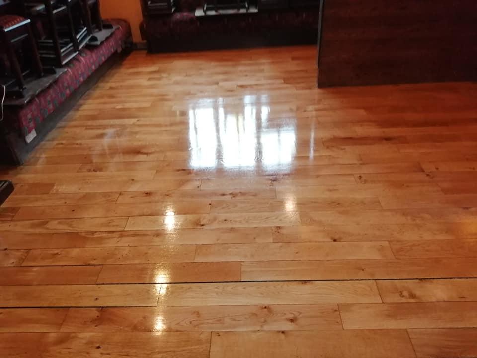 wooden floor repainted by bp painters and decorators