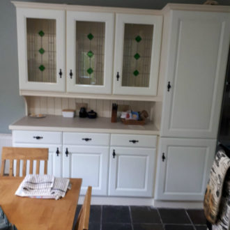 wooden kitchen unit after renovation by bp painters and decorators