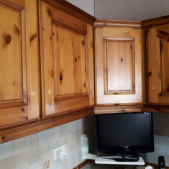 Original wooden kitchen unit before new painting work by bp painters and decorators