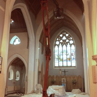 painting work in a church by BP ecorators
